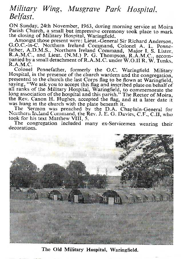 Closure of Waringfield Military Hospital, Moira