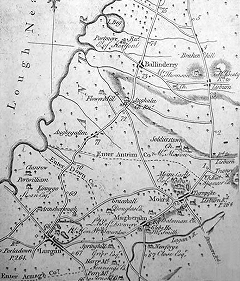 Moira area map showing the roads in 1777