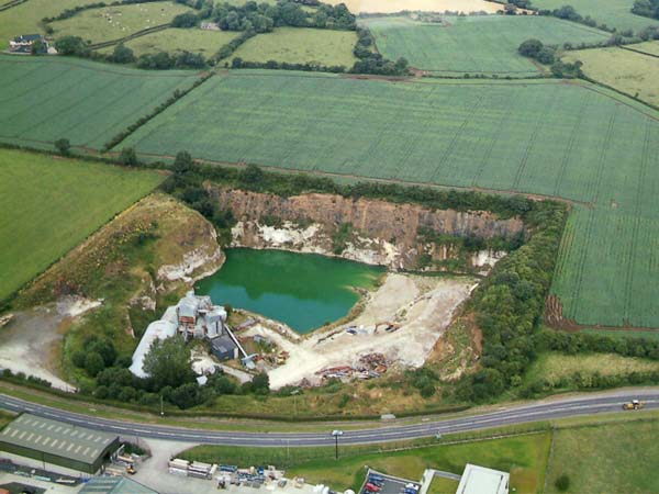 Disused Limestone Quarry outside Moira as seen from above