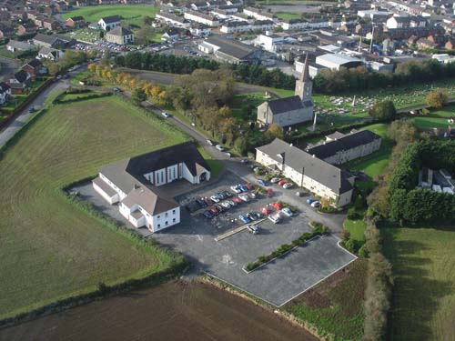 Aerial view of Moira churches
