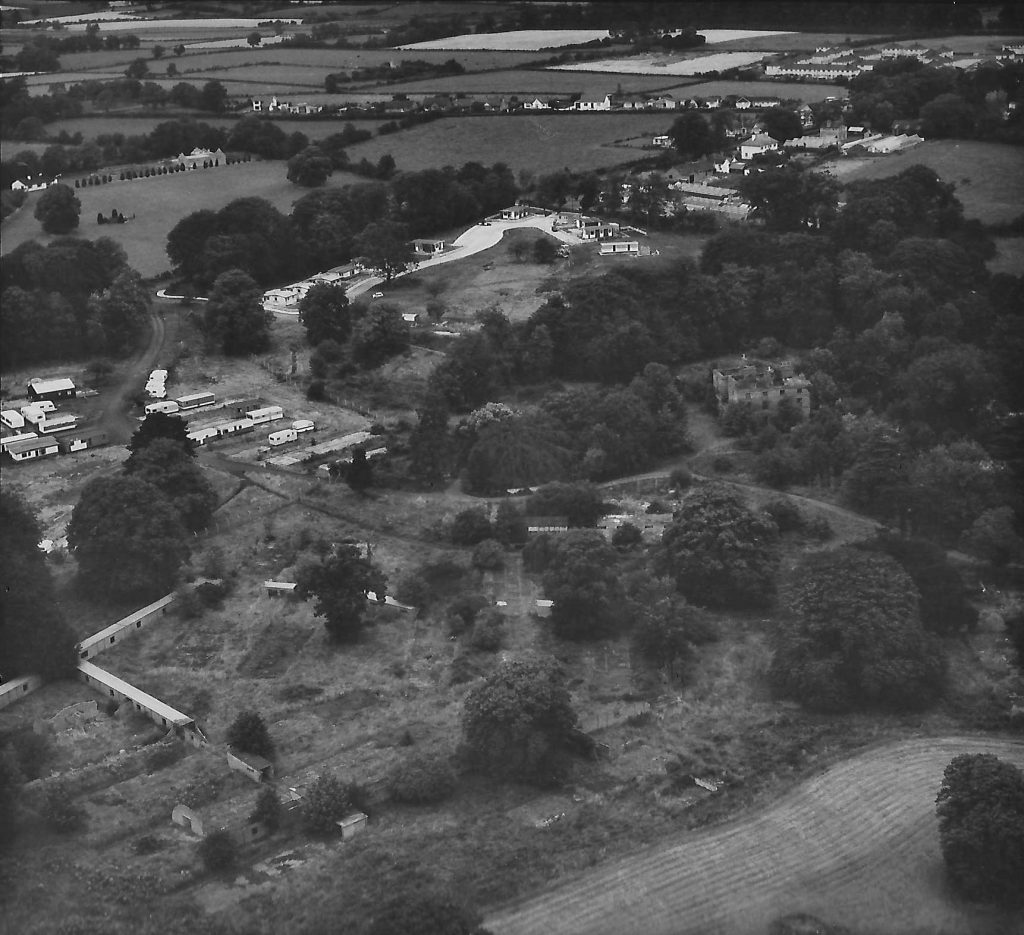 Derelict Waringfield House and caravan park in 1974